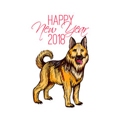Happy new year 2018 card with hand drawn dog vector