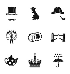 Holiday in united kingdom icons set simple style vector