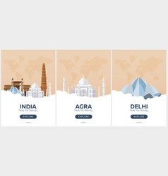 India time to travel set of travel posters vector