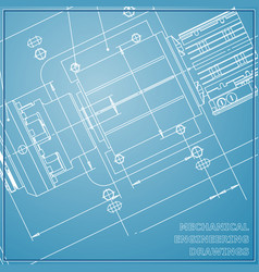 Mechanical engineering drawing blue background vector