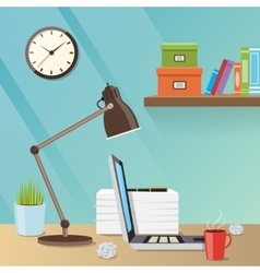 Modern creative workspace with work vector image