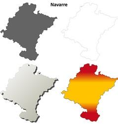 Navarre blank detailed outline map set vector