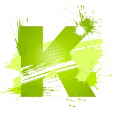 Paint splashes font letter k vector