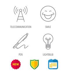 Pen telecommunication and lightbulb icons vector