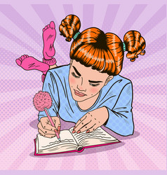Pop art girl in pink socks writing in diary vector