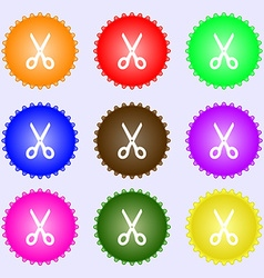 Scissors icon sign Big set of colorful diverse vector image