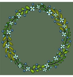 spring floral wreath frame with white flowers vector image vector image