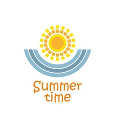 Summer time with sun and sea waves vector image vector image