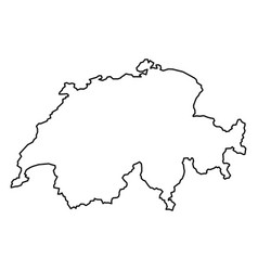 Switzerland map of black contour curves of vector