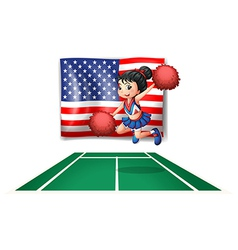 The USA flag and the young cheerdancer vector image vector image