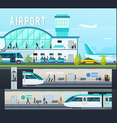 transport terminal compositions vector image vector image