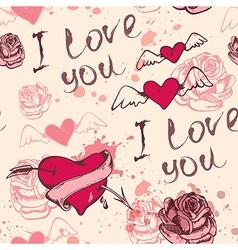 Vintage hand drawn Valentine seamless pattern vector image