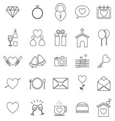 Wedding line icons on white background vector image