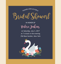 wedding with swan braidal shower invitation card vector image vector image