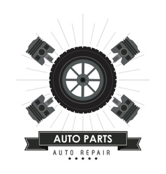 Wheel icon Auto part design graphic vector image vector image