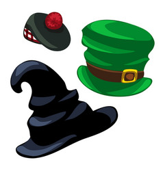 Wizard hat leprechaun and scottish cap vector