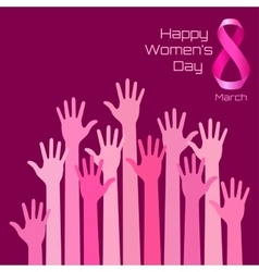 Womens day greeting card design pink hands vector