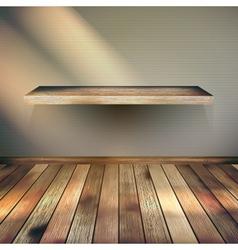 Wooden empty shelf background eps 10 vector