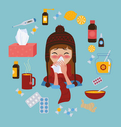Young girl caught cold flu or virus treatment of vector