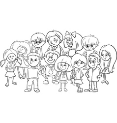 School kids coloring page vector