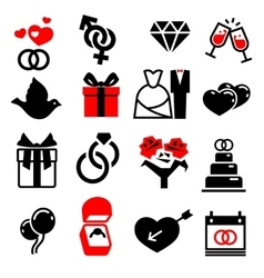 Wedding marriage bridal icons set vector