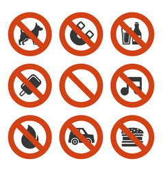 prohibited signs set vector image