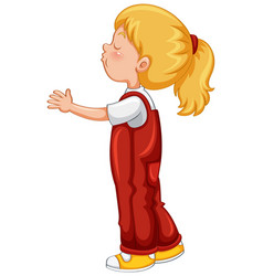 Little girl in red overall outfit vector