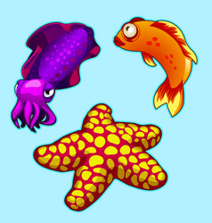 Squid starfish and orange fish on blue background vector