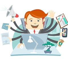 Very busy office man working hard by eight hands vector