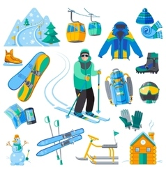 Ski resort icons vector