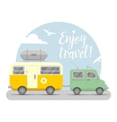 Caravan trailer end car vector