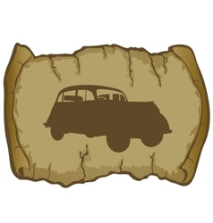 Parchment and retro car vector