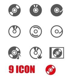 Grey cd icon set vector
