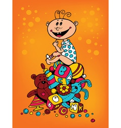 baby with toys vector image vector image