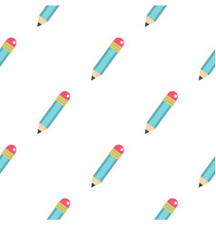 blue sharpened pencil with eraser pattern seamless vector image