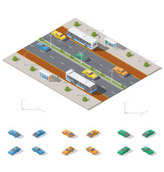 bus stop and two way road architecture isometric vector image vector image