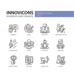 Business and fnance line design icons set vector