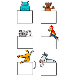 cartoon animal characters with cards collection vector image vector image