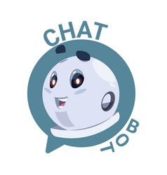 Chat bot icon cute robot chatter or chatterbot vector