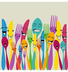 Colorful silverware set vector