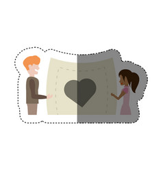 Couple holding card paper heart shadow vector