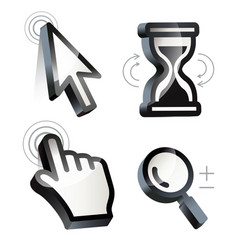 cursor hand arrow hourglass magnifying vector image vector image