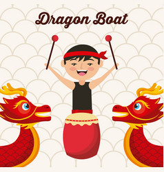 Dragon boat festival chinese man drum music vector