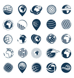 earth logo set vector image vector image