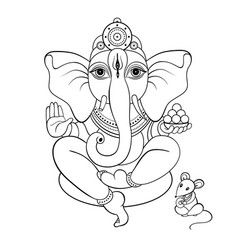Ganapati meditation in lotus pose vector