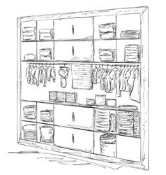 Hand drawn baby wardrobe sketch vector image vector image