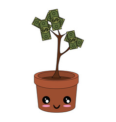 kawaii money plant icon vector image