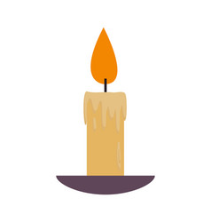 lighted lit candle with flowing wax plate vector image