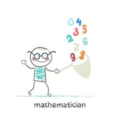 mathematician catches a butterfly net figures vector image