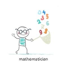 Mathematician catches a butterfly net figures vector